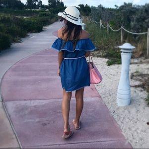 ASOS Off-the-shoulder Denim Dress